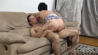 Mature Granny with Small Tits Rides A Young Dick