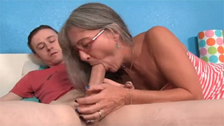 Mature Lady Helps her Stepson by Sucking All Sperm from his Balls