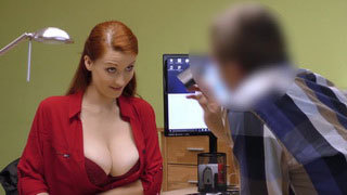 British Milf with Big Titties Fucked in the Loan Office